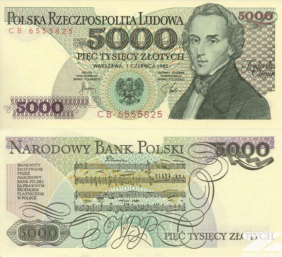 波兰币_波兰5000兹罗提纸币上的肖邦