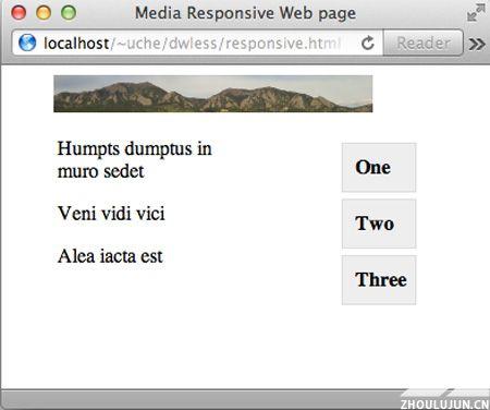 宽度缩减的 Safari 浏览器中的 responsive.html 屏幕截图,用于模拟小型移动设备上的页面外观