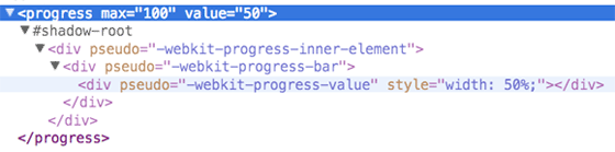 webkit progress元素的shadow DOM