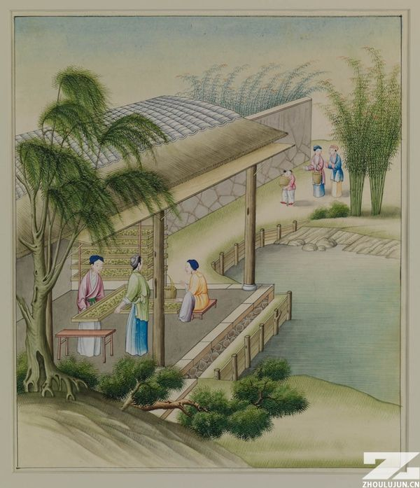 Tending the Silkworm Cocoons, about 1790,不透明水彩