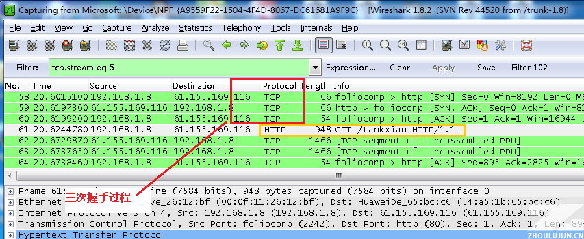 TCP三次握手 wireshark