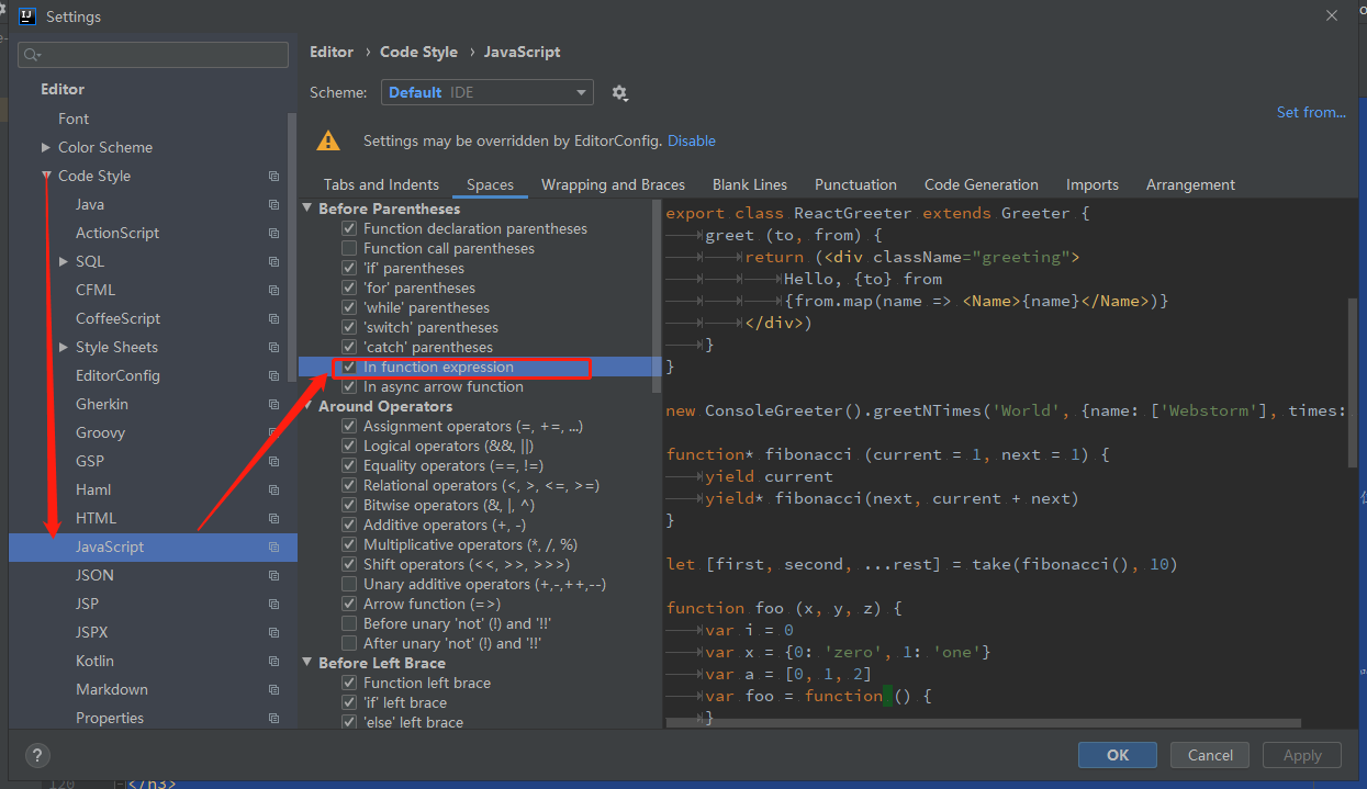 intellij js设置函数声明,加上空格