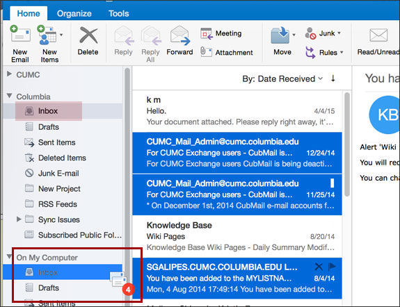 Dragging Messages in Outlook
